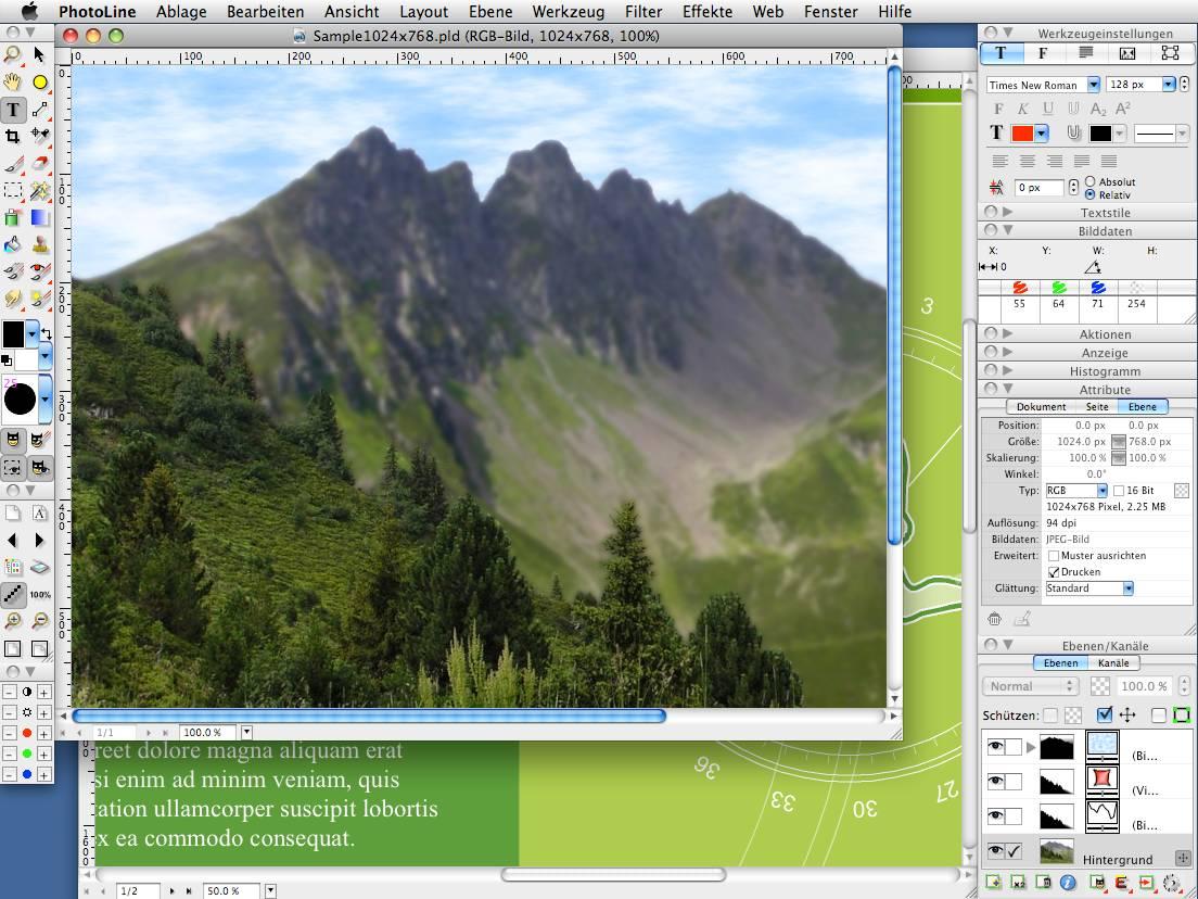 PhotoLine macOS full screenshot